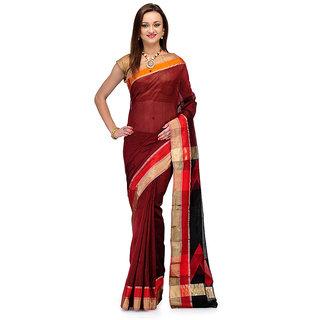 Maroon Cotton Silk Pure Chanderi With Black Pallu
