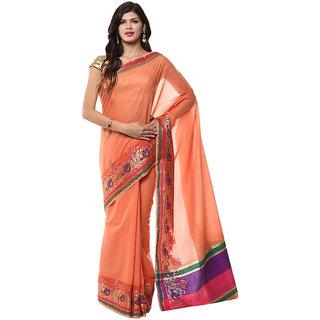 Peach Banarasi Cotton Saree With Zari Work