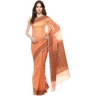 Orange Banarasi Moonga Cotton Saree With Resham Work