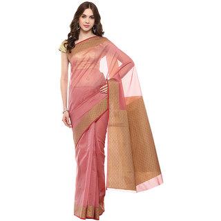 Mauve Banarasi Moonga Cotton Saree With Resham Work