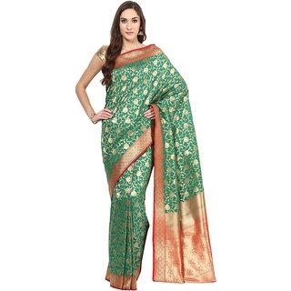 Green Georgette Silk Saree With Zari Work