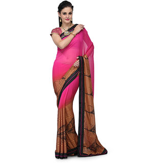 Magenta And Brown Faux Georgette Half And Half Saree