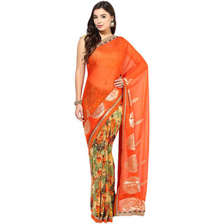 Vibrant Orange And Pastel Olive Half And Half Faux Chiffon And Faux Georgette Saree
