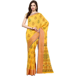 Golden Printed Cotton Saree With Zari Border
