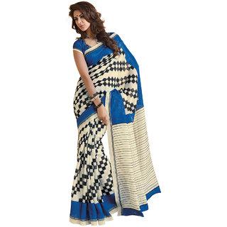 Subhash Sarees Cream and Blue Colored Bhagalpuri Printed Saree/Sari
