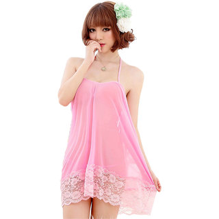 SIZZLE N SHINE Pink Halter Neck Backless Sexy Lace Nightwear