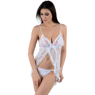 FIGURE N FIT White Lace Solid Sexy Babydoll