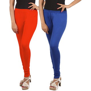 Phoenix Womens Red and Royal Blue color Leggings Pack of 2