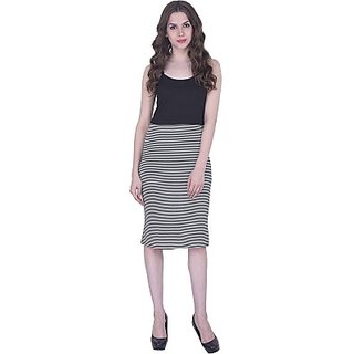 CHICFLIC Striped Womens Pleated Black Skirt
