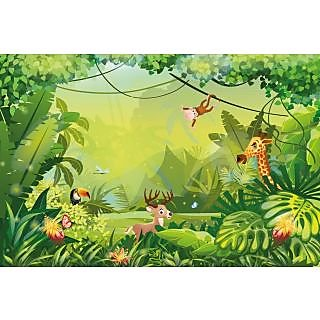Walls and Murals Colorful Jungle Wallpaper for Kids Play Area, Peel and Stick Wallpaper in Different Sizes (36 x 54)