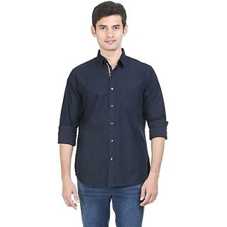 Mens Solid Casual Dark Blue Shirt