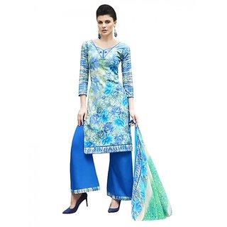 Sareemall Multi Self Designer  Printed Dress Material With Matching Dupatta