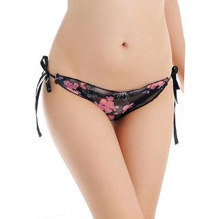 AAYAN BABY Black Sheer Floral Print Side-Tie Panties (Pack of 1)