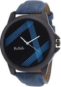 Relish Round Dial Blue Leather Strap Men Quartz Watch F