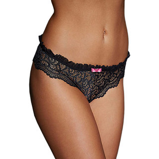 AAYAN BABY Black Lace Heart Throb Naughty Knicker (Pack of 1)