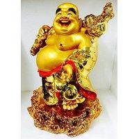 Very Big Golden Laughing Buddha Kuberar Positive Energetic Vibratn Feng Shui