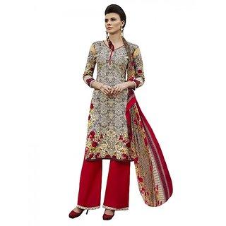 9af79259a5 Sareemall Multi Self Designer Printed Dress Material With Matching Dupatta