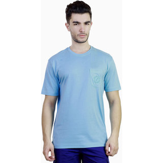 Caribbean Joe Mens Waterfed Blue Pocket Crew Island T-shirt