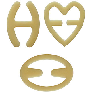 AAYAN BABY Beige Oval, H Shape, Heart Bra Strap Clips (Pack of 3)