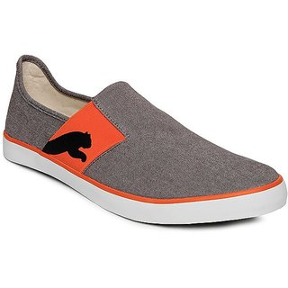 Puma Comfortable Gray And Orange Canvas Shoes