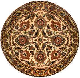 Rugville Agra Floral Hand Knotted Ivory Wool Round Rug 10469 3 x 3