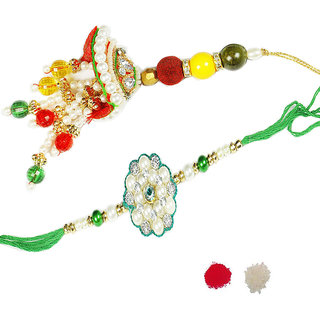 Bhaiya Bhabhi Pearl Rakhi Design By Shreeng