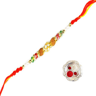 Rudraksh with Pearl Rakhi Design By Shreeng