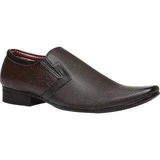Bata MenS Laser Brown Formal Slip On Shoes