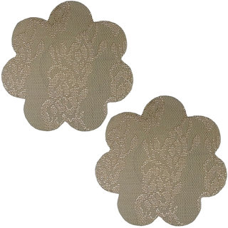 AAYAN BABY Beige Flower Polyester Peel and Stick Disposable Nipple Covers