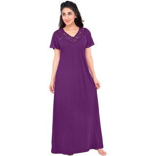 Honeydew Purple Cotton Lace Nighty