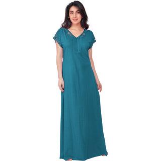 Honeydew Green Cotton Lace Nighty