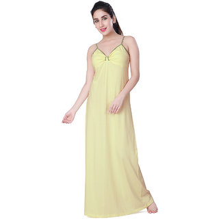 Buy Honeydew Yellow Cotton Self Design Nighty Online   ₹425 from ShopClues 88b3185a0