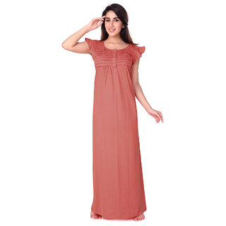 Buy Honeydew Orange Cotton Self Design Nighty Online   ₹615 from ShopClues 70d377630