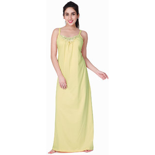 e1ad427bfa Buy Honeydew Yellow Cotton Lace Nighty Online   ₹445 from ShopClues