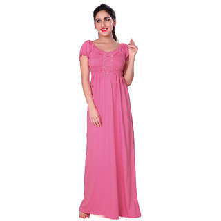 Honeydew Pink Cotton Solid Nighty