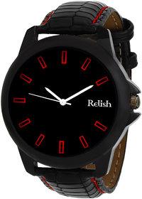 Relish Round Dial Black Leather Strap Men Quartz Watch for Men