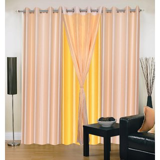 Brabuon Plain with Tissue Beige And Yellow Eyelet Door Curtains (Set of 2)