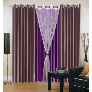 Brabuon Plain with Tissue Brown And Purple Eyelet Door Curtains (Set of 2)