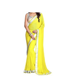 Designer Yellow Colour Chiffon Fabric Sarees With Silver Goto Blouse For Womens