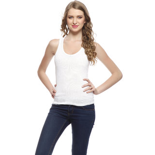Simply Awesome White Hosiery Round Neck Sleeveless Solid GirlS Camisoles