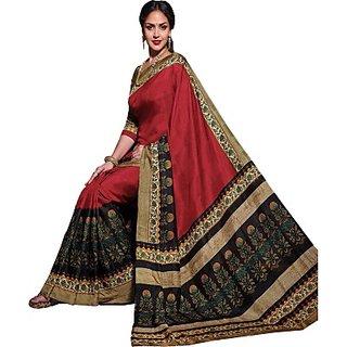 Sarees Floral Print Bollywood Silk Sari