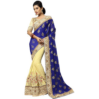 Manvaa blue color fauxgeorgetteembroidered half and half designer womens saree