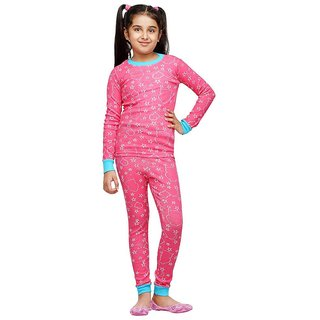 Nuteez Pink Full Sleeve Top  PJ Set For Girls