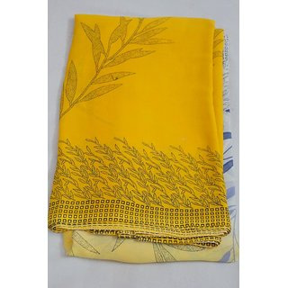 Lemon Yellow Synthetic Saree