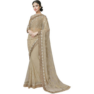 Glamorous Beige Color Designer Net Saree with Embroidery