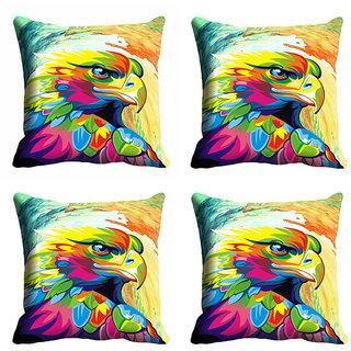 meSleep Multi Colour Bird Art Cushion Cover (16x16)