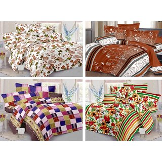 12 Pcs Combo of 100 Cotton 4 Double Bedsheets with 8 Pillow covers - Multi Color