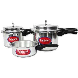 FABIANO ISI - Aluminium Pressure Cooker (Set Of 3) 2L + 3L + 5L cookers with 2 Lids