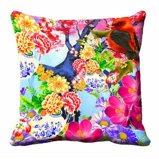 meSleep 3D Multi Colour Floral Cushion Cover (16x16)