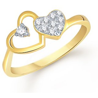 VK Jewels Ravishing Heart Gold And Rhodium Plated Ring